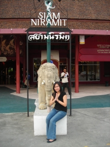 At the Siam Niramit entrance.