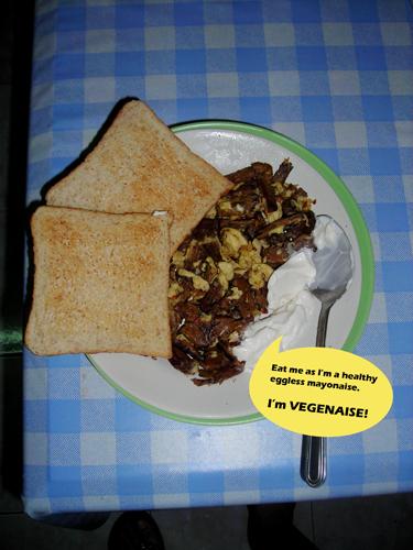 Vegetarian mushroom stock with dried garlic and scrambled eggs