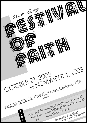 Festival of Faith poster (equivalent to Week of Prayer)