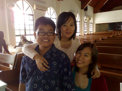 LeRon, Fiona and I at our home church in Sabah.