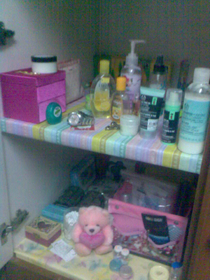 Deanna's make-over shelf (transformed her boring shelf to be a place that invites light, happiness, creativity and beauty.